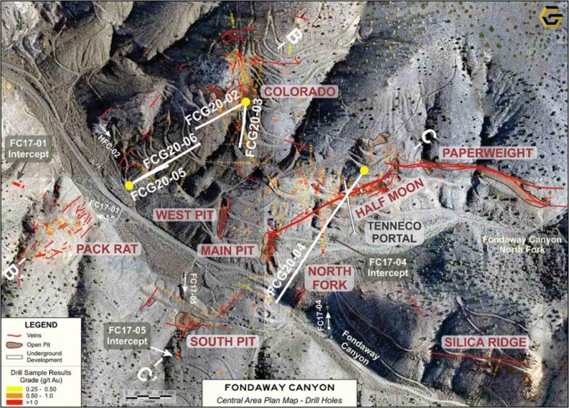 Getchell Gold Corp., 콜로라도 SW 구역을 1.8 g / t Au 90.0m 이상으로 확장하고 새로운 North Fork 구역 등급 2.5 g / t Au 58.0m 이상, Fondaway Canyon Project, Nevada 발견