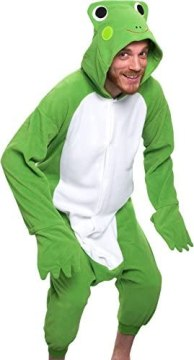 Silver Lilly Unisex Adult Pajamas – Plush One Piece Cosplay Frog Animal Costume