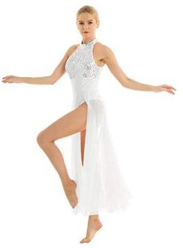 inlzdz Women's Lyrical Sequined Cut Out Ballet Dance High Split Overlay Mesh Maxi Dress Leotard