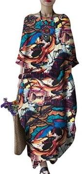 FLORHO Women's Maxi Dresses Solid Kaftan Loose Cotton Long Dress Improve for Americans