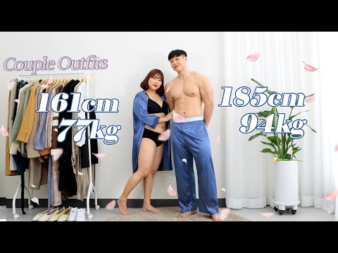 [Puffy couple look] Korea's first 77kg❤️94kg spring couple look #plum coordination #fat coordination #couple look