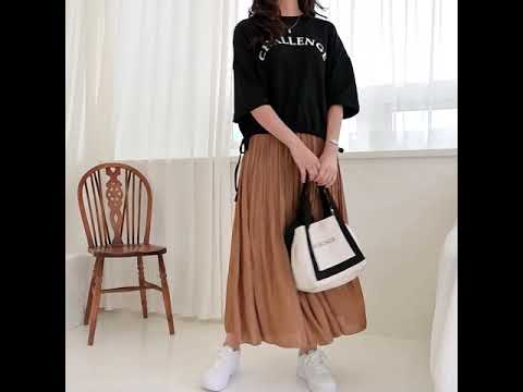 Daily & Spring New Marge Satin Pleated Banding Long Flare Skirt