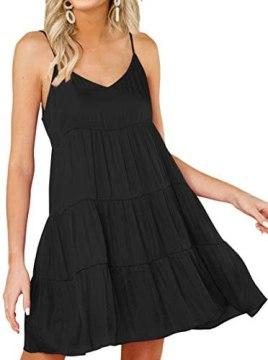 KIRUNDO 2021 Summer Women's Spaghetti Straps Mini Dress Sleeveless Solid V-Neck Backless Casual Swing Skater Pleated Dress