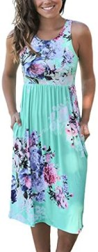 OURS Women Summer Sleeveless Floral Print Racerback Midi Sun Dresses with Pocket