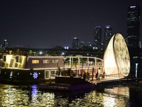 Pemandangan malam sungai Han dari Pulau Nodeul