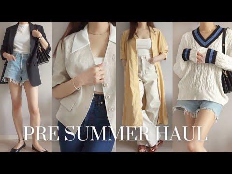 Early Summer Preparation Fashion Howl 🌿 Linen jacket, sandal mules, dress, denim shorts, knitwear, crop top |  pre summer fashion haul 2021
