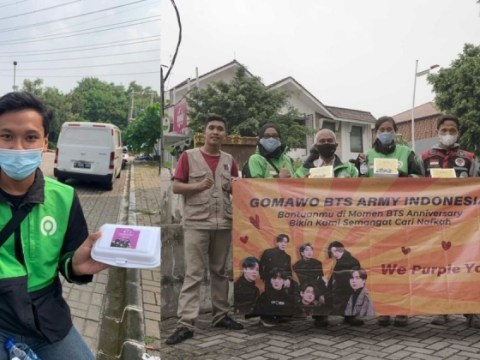 We Purple Ojol : 인도네시아 방탄 소년단 팬들이 COVID-19 테스트 비용, 배달 기사를위한 도시락 비용을 모으다