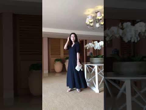 [Einführung der neuen großen Größe] Langes Sommerkleid mit gutem Liniensinn
