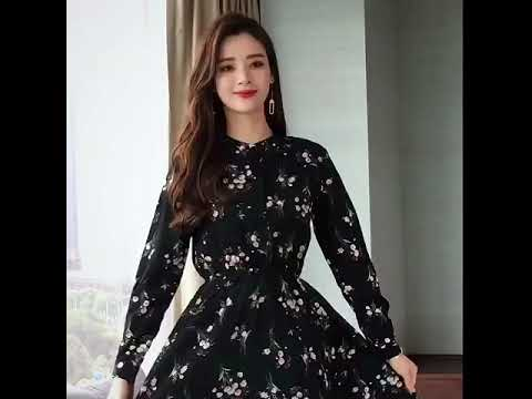 Flower Dress 2021 Fall New Marine Look Long Sleeve Chiffon Long Skirt