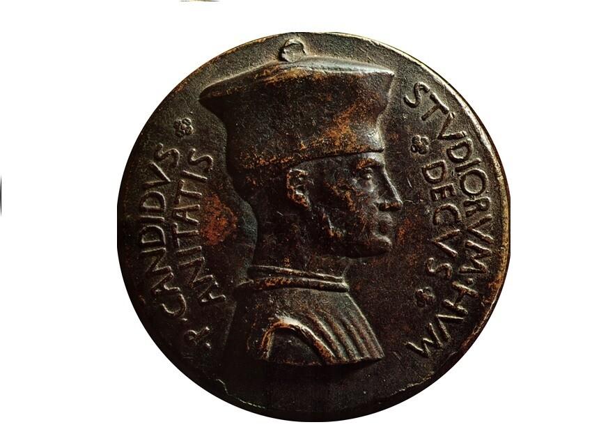 1448년께 피사넬로가 제작한 데쳄브리오 초상 메달의 앞면. 위키미디어 코먼스