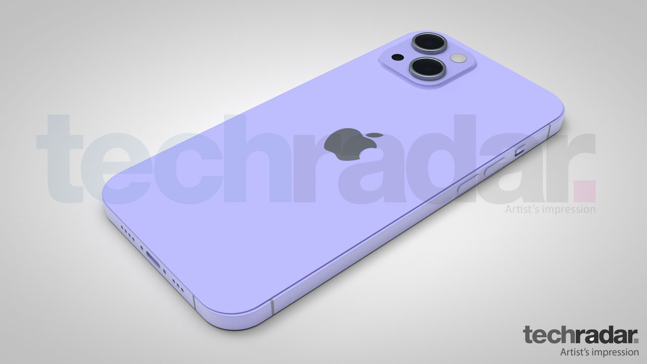An artist's impression of the iPhone 13 in purple